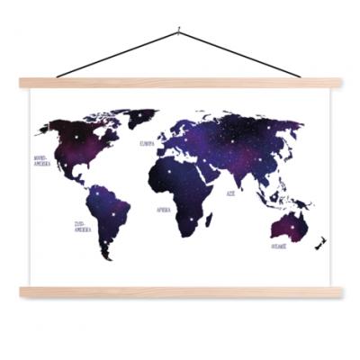 Wereldkaart Stars And Continents Paarstint - Schoolplaat 90x60