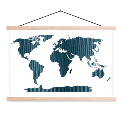 Wereldkaart Kruisjespatroon Blauw - Schoolplaat 90x60