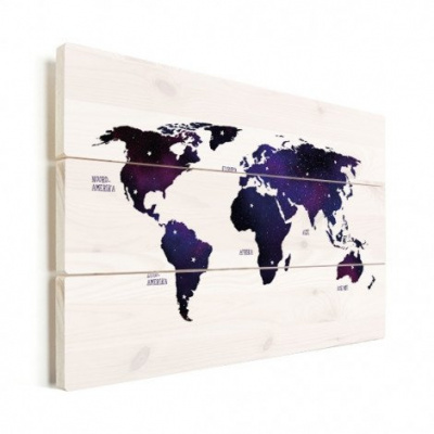 Wereldkaart Stars And Continents Paarstint - Horizontale planken hout 120x80