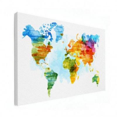 Wereldkaart Ecoline Kleuren - Canvas 120x90