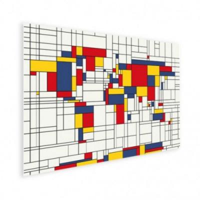 Wereldkaart Mondriaan - Houten plaat 40x30