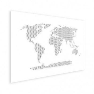 Wereldkaart Kruisjespatroon Zwart - Houten plaat 40x30