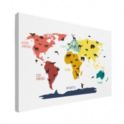 Wereldkaart Dieren Per Continent Kleuren - Canvas 100x50