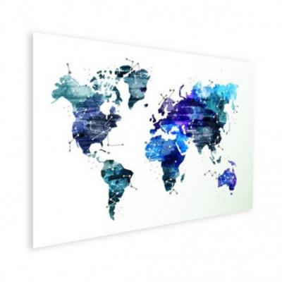 Wereldkaart Artistiek Nachtkleuren - Houten plaat 40x30