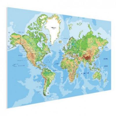 Wereldkaart Aardrijkskundig Origineel - Poster 120x90