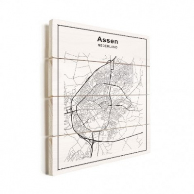 Stadskaart Assen - Verticale planken hout 50x70