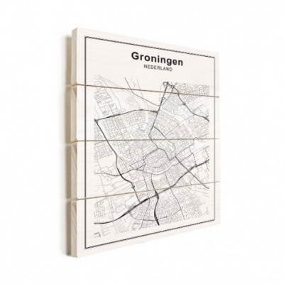 Stadskaart Groningen - Horizontale planken hout 60x80