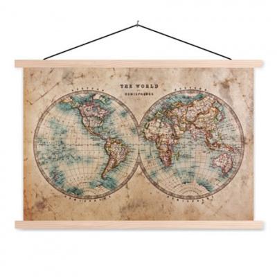 Wereldkaart The World Perkament - Schoolplaat 90x60