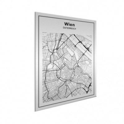 Stadskaart Wenen - Wit aluminium 50x70