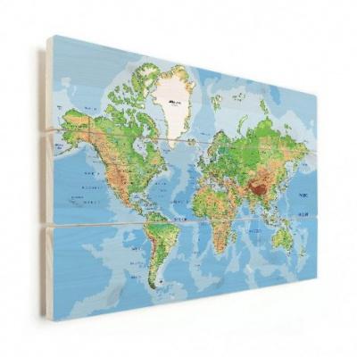 Wereldkaart Aardrijkskundig Origineel - Horizontale planken hout 90x60