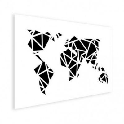 Wereldkaart Geometrische Vakken - Houten plaat 120x80