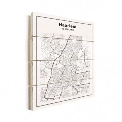 Stadskaart Haarlem - Verticale planken hout 50x70