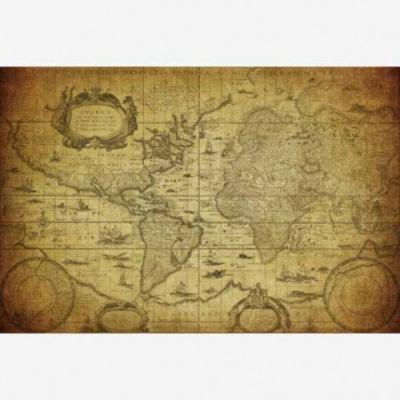 Wereldkaart Oude Zeekaart - Houten plaat 120x80
