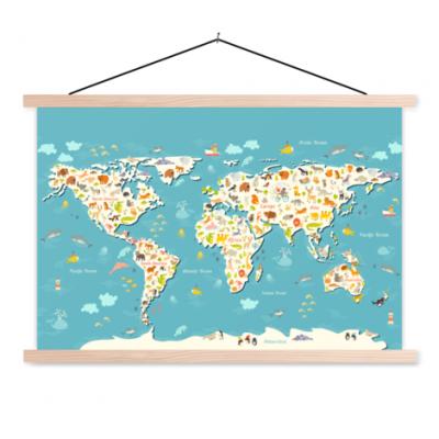 Wereldkaart Spot Alle Dieren - Schoolplaat 90x60