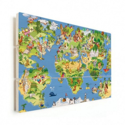 Wereldkaart Prent Dieren En Bezienswaardigheden - Verticale planken hout 120x80
