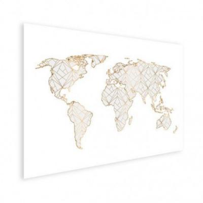 Wereldkaart Geometrische Gouden Lijnen Grijs - Poster 40x30