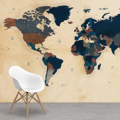 Wereldkaart Landen Donkere Tinten - Vinylbehang 265x350