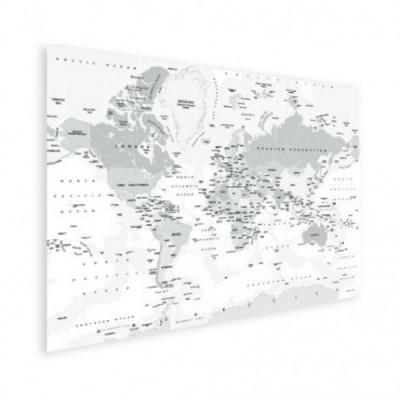 Wereldkaart Landen Grijstint - Houten plaat 120x80