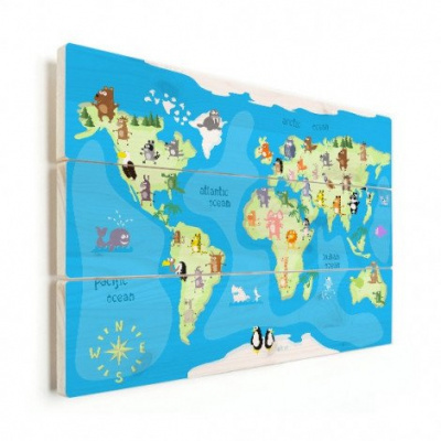 Wereldkaart Vrolijke Dieren Van De Wereld - Horizontale planken hout 40x30