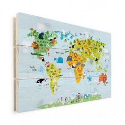 Wereldkaart Voor Kinderen - Horizontale planken hout 90x60