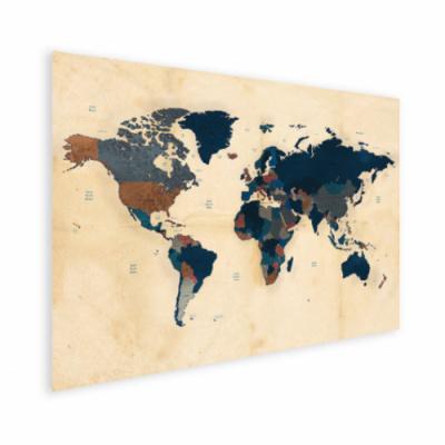 Wereldkaart Landen Donkere Tinten - Houten plaat 80x60