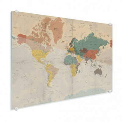Wereldkaart Aardrijkskundig Stoffig - Plexiglas 120x90