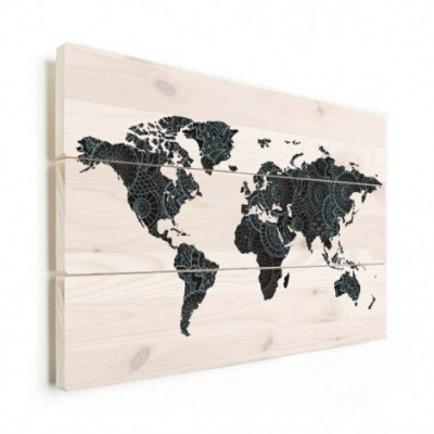 Wereldkaart Circelpatroon Diagonale Lijnen Blauwtint - Verticale planken hout 80x60