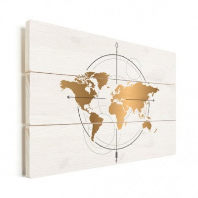 Wereldkaart Golden Compass - Verticale planken hout 80x60