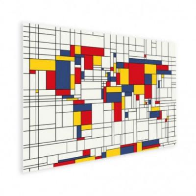 Wereldkaart Mondriaan - Poster 40x30