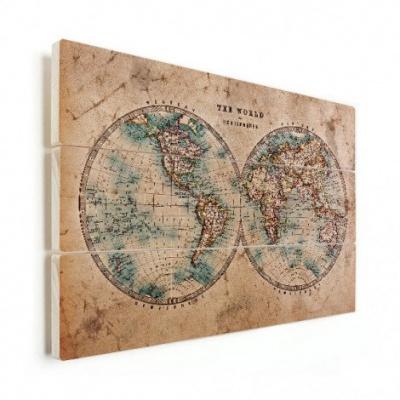 Wereldkaart Historisch Tweedelig - Verticale planken hout 80x60