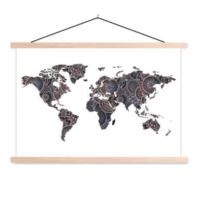 Wereldkaart Circelpatroon Diagonale Lijnen Paarstint - Schoolplaat 90x60