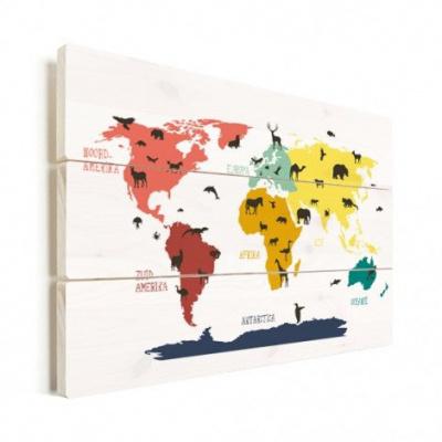 Wereldkaart Dieren Per Continent Kleuren - Verticale planken hout 120x80