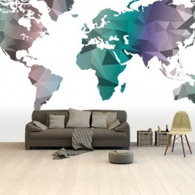 Wereldkaart Geometrische Kleuren - Airtex behang 265x400
