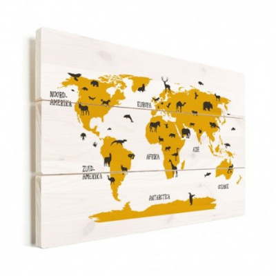 Wereldkaart Dieren Per Continent Geel - Horizontale planken hout 120x80