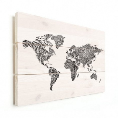 Wereldkaart Fingerprints Zwart - Verticale planken hout 80x60