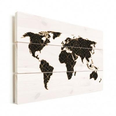 Wereldkaart Geometrische Gouden Lijnen Zwart - Verticale planken hout 80x60