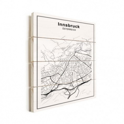 Stadskaart Innsbruck - Verticale planken hout 60x80