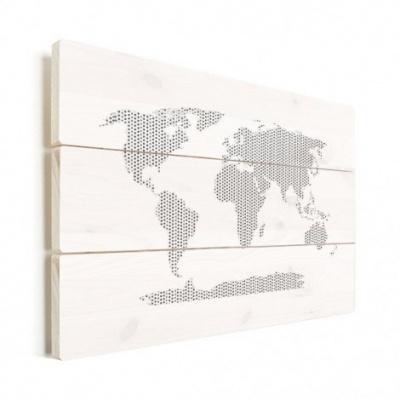 Wereldkaart Kruisjespatroon Zwart - Verticale planken hout 80x60