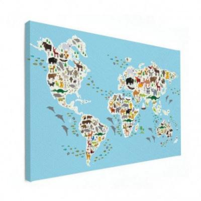 Wereldkaart Dieren Van De Wereld - Canvas 120x80