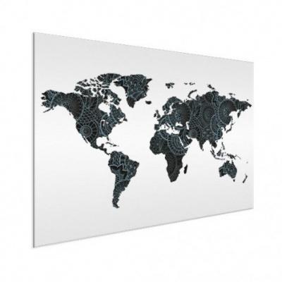Wereldkaart Circelpatroon Diagonale Lijnen Blauwtint - Geborsteld aluminium 120x90