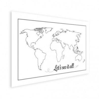 Wereldkaart Let's See It All Zwart - Houten plaat 40x30