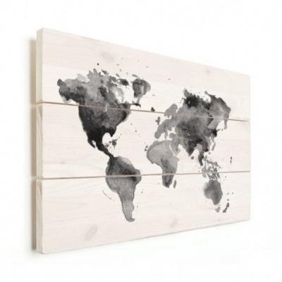 Wereldkaart Grijstint Aquarel - Horizontale planken hout 80x60
