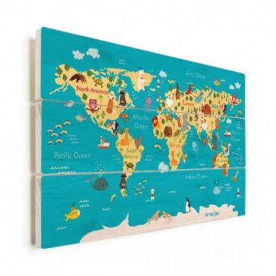 Wereldkaart Leerzaam En Leuk - Horizontale planken hout 90x60