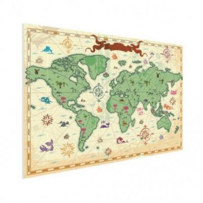 Wereldkaart Van Vroeger - Houten plaat 40x30