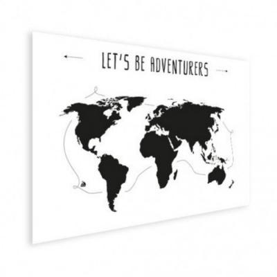Wereldkaart Let's Be Adventurers Zwart - Houten plaat 80x60