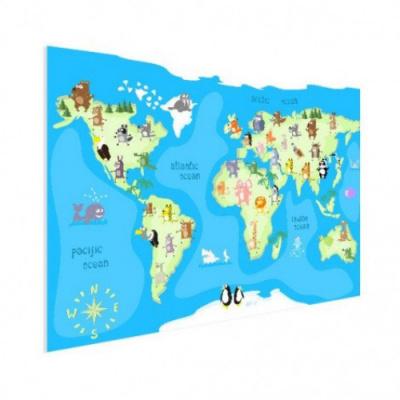 Wereldkaart Vrolijke Dieren Van De Wereld - Houten plaat 120x80