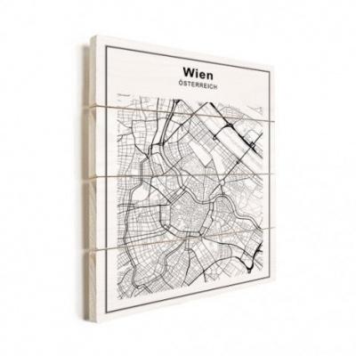 Stadskaart Wenen - Horizontale planken hout 50x70