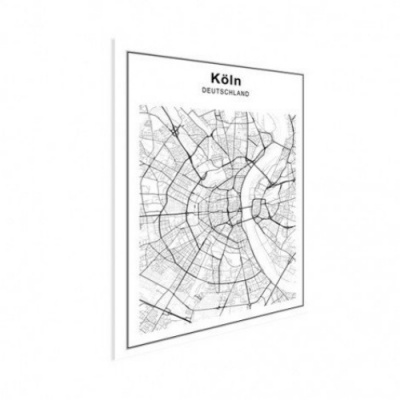 Stadskaart Keulen - Houten Plaat 30x40