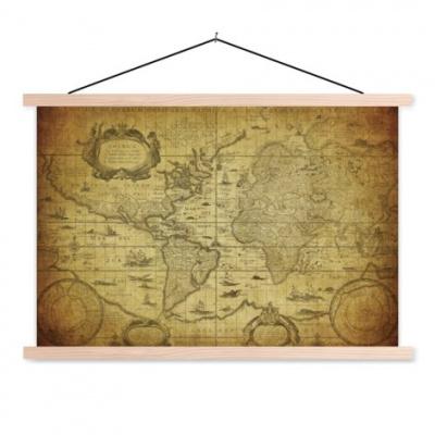 Wereldkaart Oude Zeekaart - Schoolplaat 90x60
