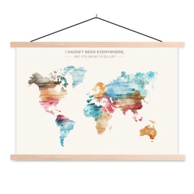 Wereldkaart I Haven't Been Everywhere Kleuren - Schoolplaat 60x40